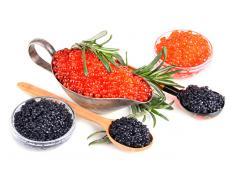 Икра красная и чёрная натуральная, печень трески
